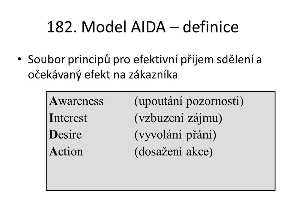 182. Model AIDA – definice Soubor principů pro efektivní příjem sdělení a očekávaný efekt na zákazníka Awareness(upoutání pozornosti) Interest (vzbuze