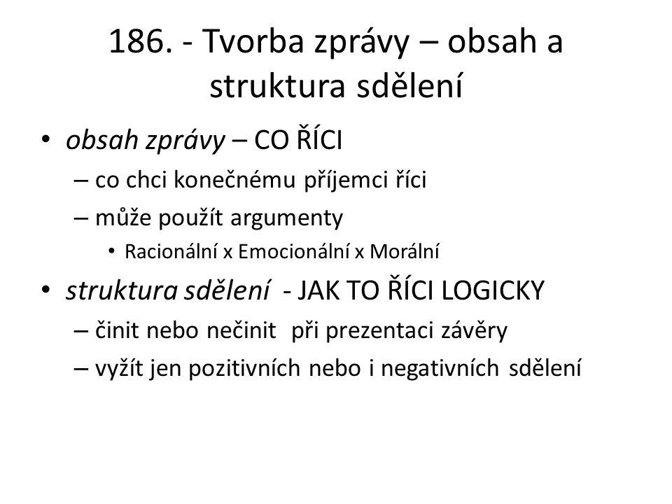186. - Tvorba zprávy – obsah a struktura sdělení obsah zprávy – CO ŘÍCI – co chci konečnému příjemci říci – může použít argumenty Racionální x Emocion