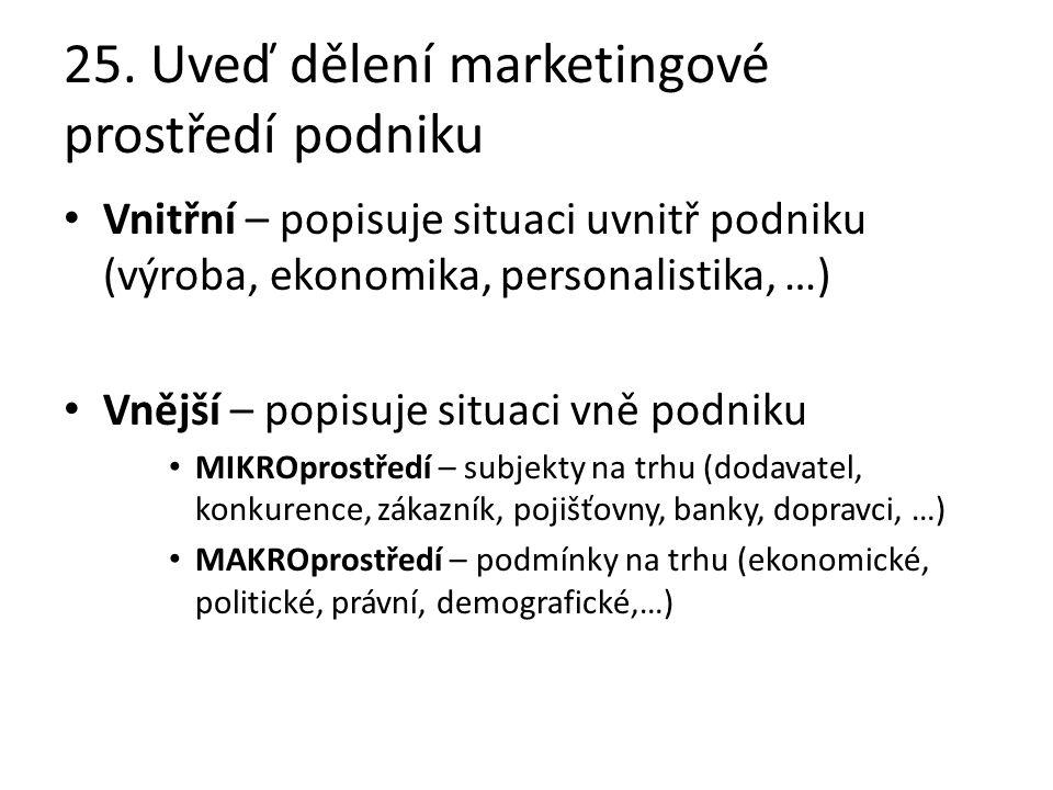 25. Uveď dělení marketingové prostředí podniku Vnitřní – popisuje situaci uvnitř podniku (výroba, ekonomika, personalistika, …) Vnější – popisuje situ