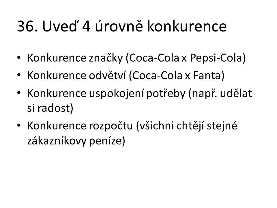 36. Uveď 4 úrovně konkurence Konkurence značky (Coca-Cola x Pepsi-Cola) Konkurence odvětví (Coca-Cola x Fanta) Konkurence uspokojení potřeby (např. ud