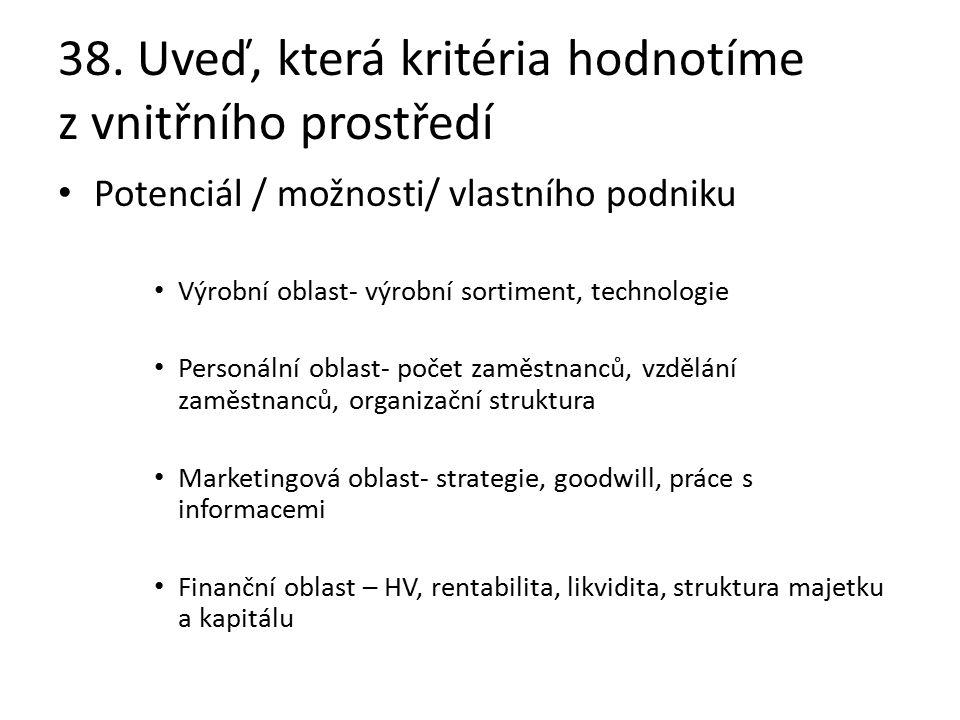 38. Uveď, která kritéria hodnotíme z vnitřního prostředí Potenciál / možnosti/ vlastního podniku Výrobní oblast- výrobní sortiment, technologie Person