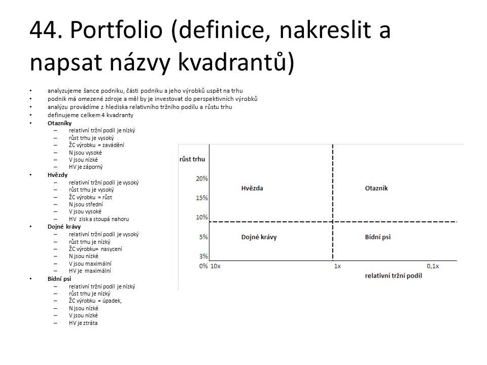 44. Portfolio (definice, nakreslit a napsat názvy kvadrantů) analyzujeme šance podniku, části podniku a jeho výrobků uspět na trhu podnik má omezené z