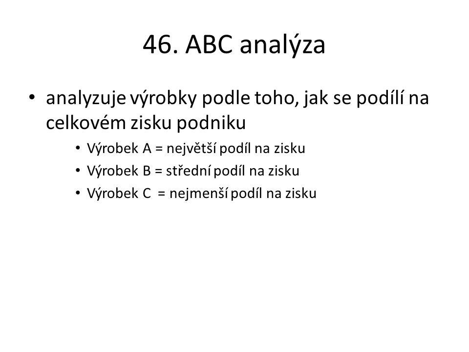 46. ABC analýza analyzuje výrobky podle toho, jak se podílí na celkovém zisku podniku Výrobek A = největší podíl na zisku Výrobek B = střední podíl na