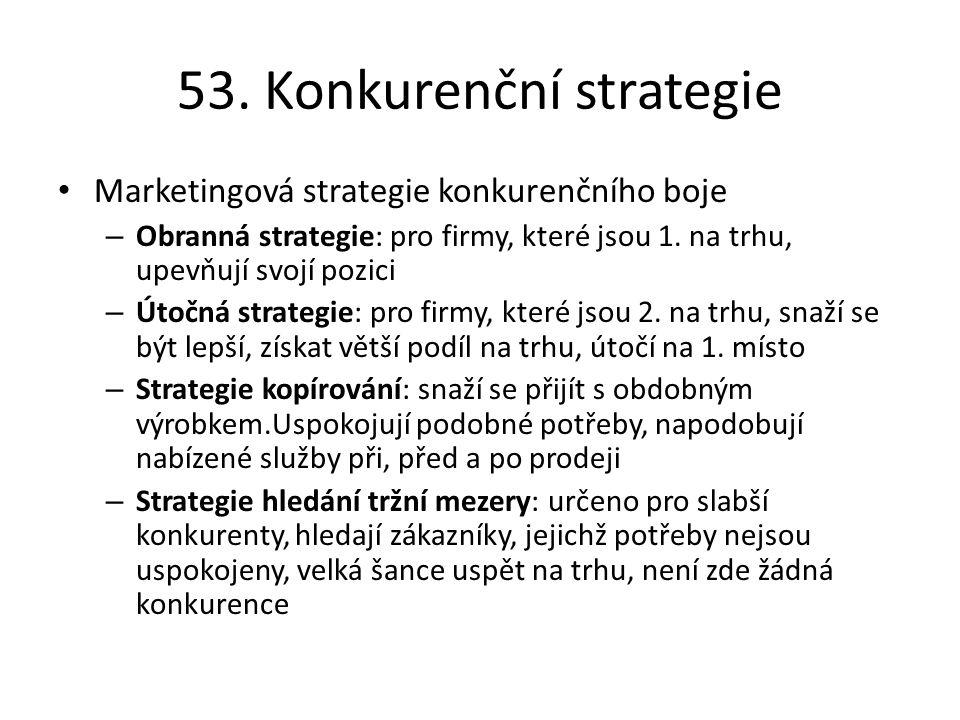 53. Konkurenční strategie Marketingová strategie konkurenčního boje – Obranná strategie: pro firmy, které jsou 1. na trhu, upevňují svojí pozici – Úto