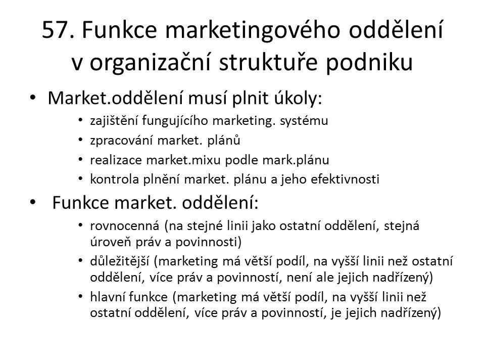 57. Funkce marketingového oddělení v organizační struktuře podniku Market.oddělení musí plnit úkoly: zajištění fungujícího marketing. systému zpracová