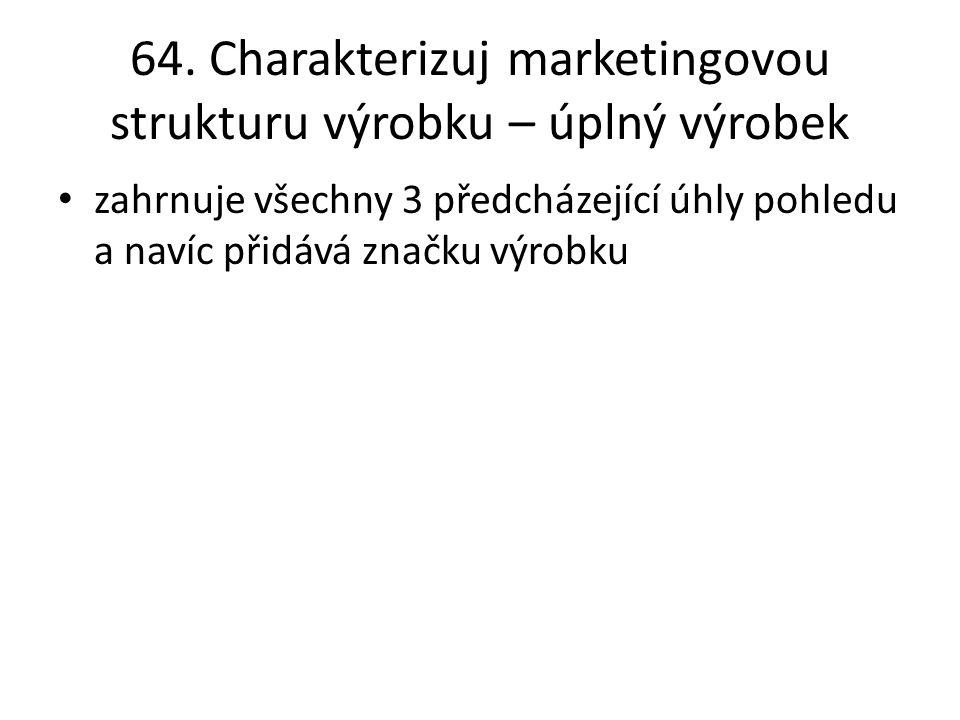 64. Charakterizuj marketingovou strukturu výrobku – úplný výrobek zahrnuje všechny 3 předcházející úhly pohledu a navíc přidává značku výrobku