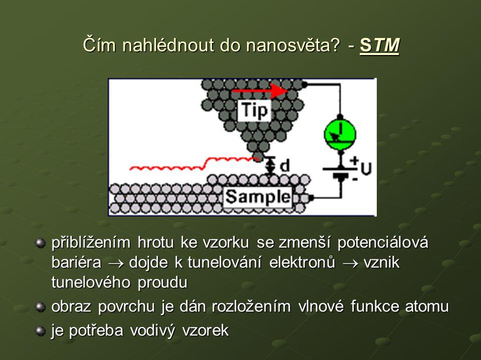 přiblížením hrotu ke vzorku se zmenší potenciálová bariéra  dojde k tunelování elektronů  vznik tunelového proudu obraz povrchu je dán rozložením vl