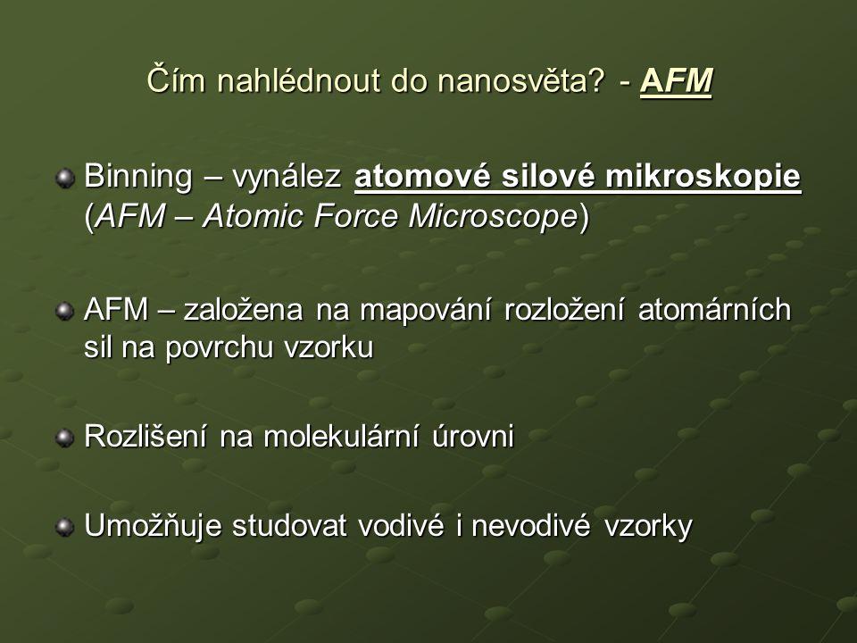 Čím nahlédnout do nanosvěta? - AFM Binning – vynález atomové silové mikroskopie (AFM – Atomic Force Microscope) AFM – založena na mapování rozložení a