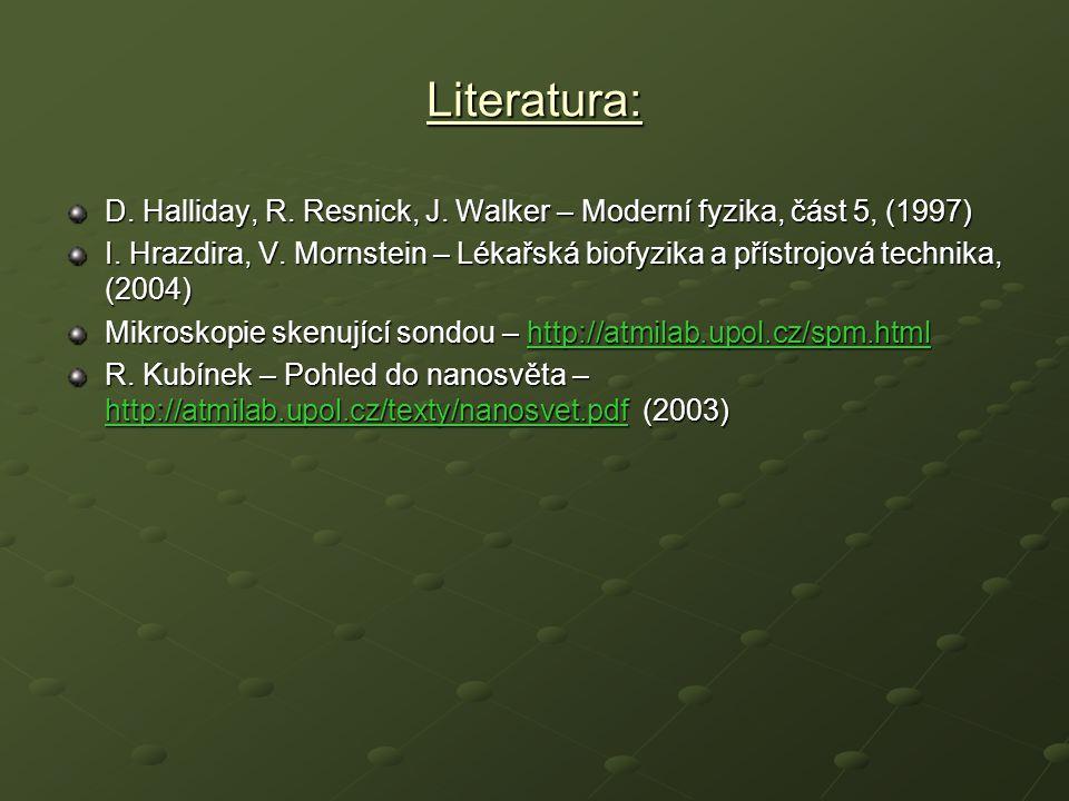 Literatura: D. Halliday, R. Resnick, J. Walker – Moderní fyzika, část 5, (1997) I. Hrazdira, V. Mornstein – Lékařská biofyzika a přístrojová technika,