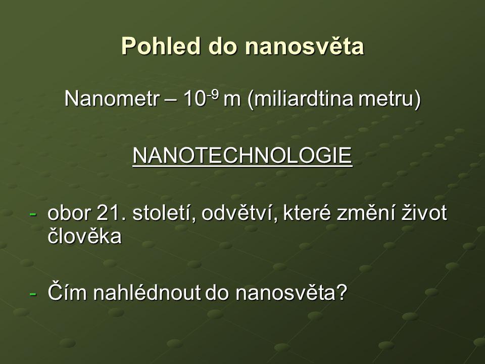 Pohled do nanosvěta Nanometr – 10 -9 m (miliardtina metru) NANOTECHNOLOGIE -obor 21. století, odvětví, které změní život člověka -Čím nahlédnout do na