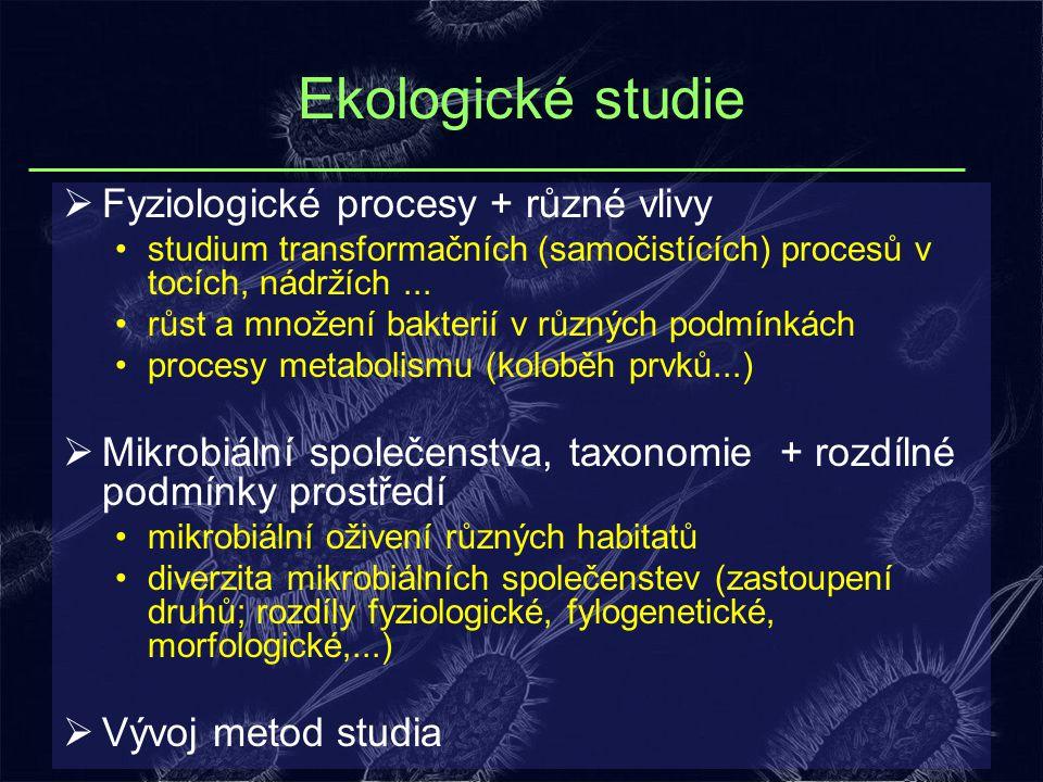 Ekologické studie  Fyziologické procesy + různé vlivy studium transformačních (samočistících) procesů v tocích, nádržích... růst a množení bakterií v
