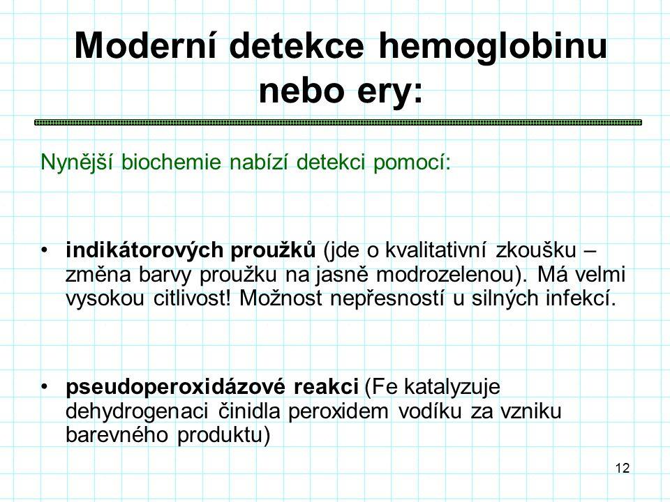 12 Moderní detekce hemoglobinu nebo ery: Nynější biochemie nabízí detekci pomocí: indikátorových proužků (jde o kvalitativní zkoušku – změna barvy proužku na jasně modrozelenou).