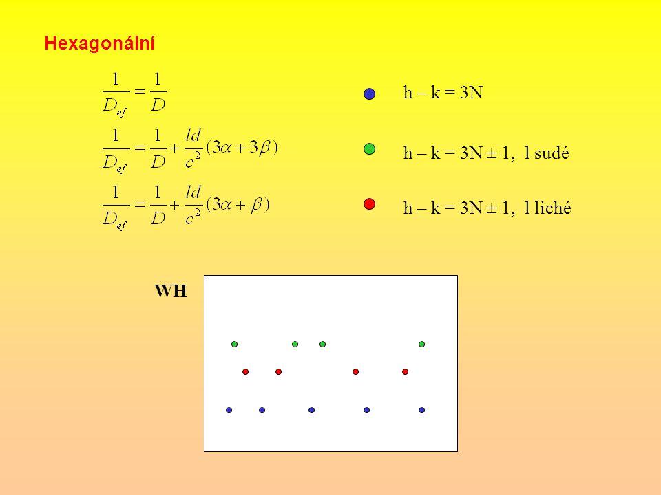 Hexagonální h – k = 3N h – k = 3N ± 1, l sudé h – k = 3N ± 1, l liché WH