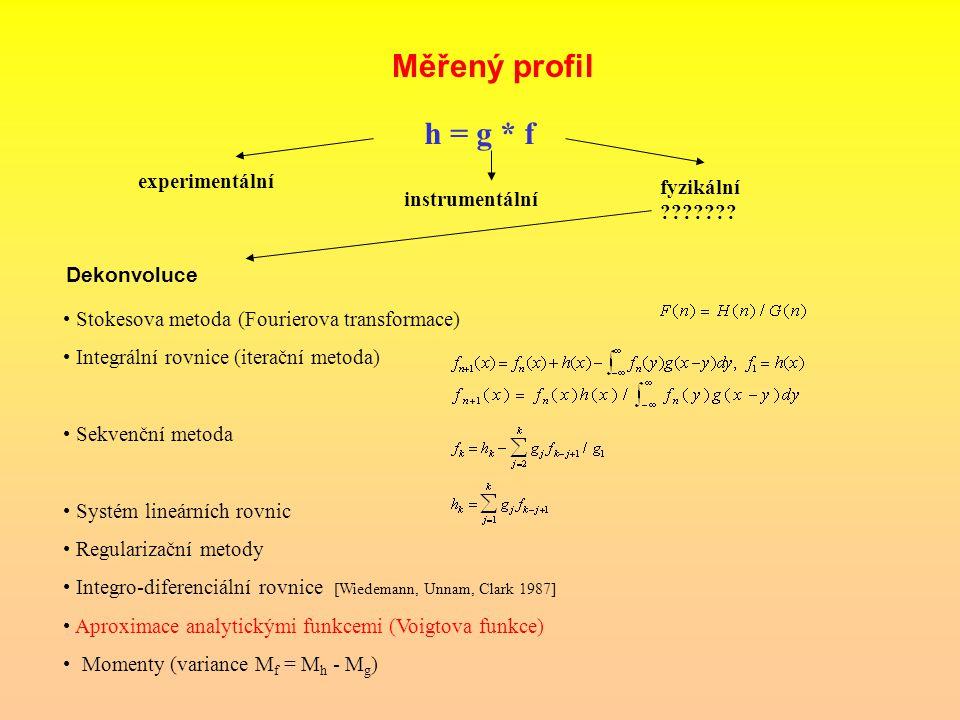 Měřený profil h = g * f experimentální instrumentální fyzikální ??????? Dekonvoluce Stokesova metoda (Fourierova transformace) Integrální rovnice (ite