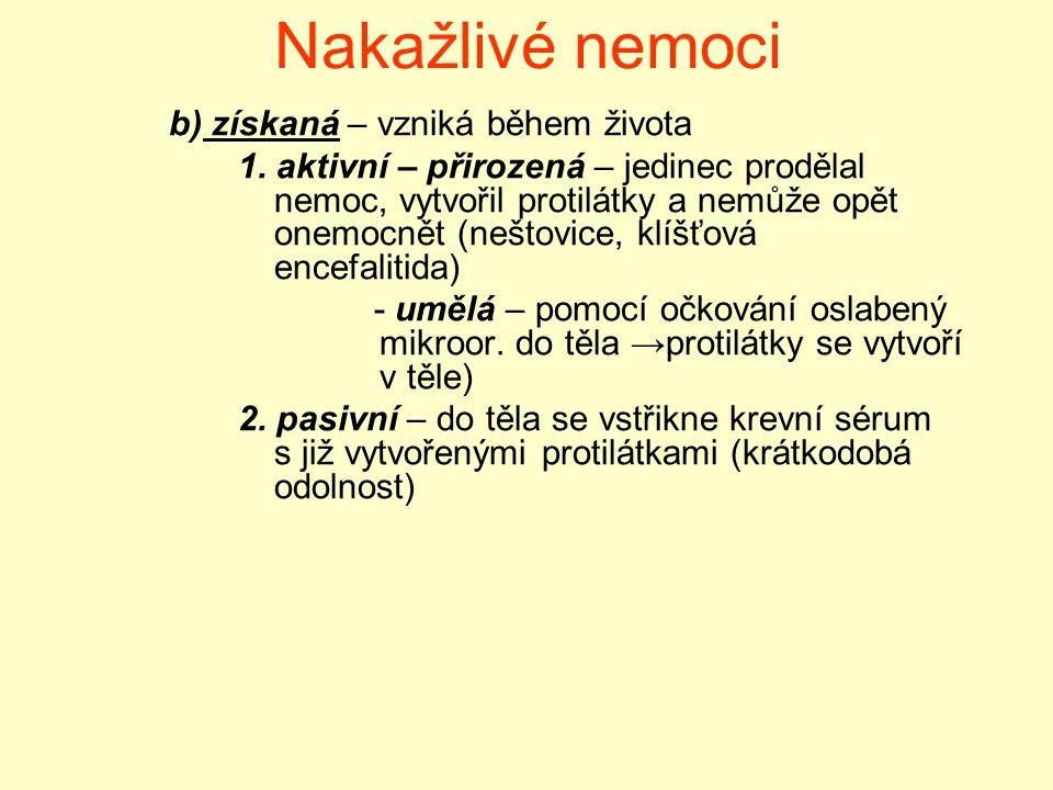 Nakažlivé nemoci b) získaná – vzniká během života 1. aktivní – přirozená – jedinec prodělal nemoc, vytvořil protilátky a nemůže opět onemocnět (neštov