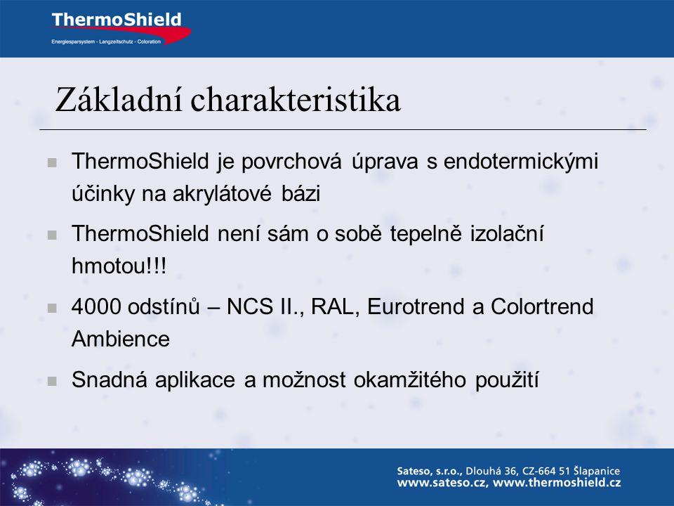 Základní charakteristika ThermoShield je povrchová úprava s endotermickými účinky na akrylátové bázi ThermoShield není sám o sobě tepelně izolační hmotou!!.
