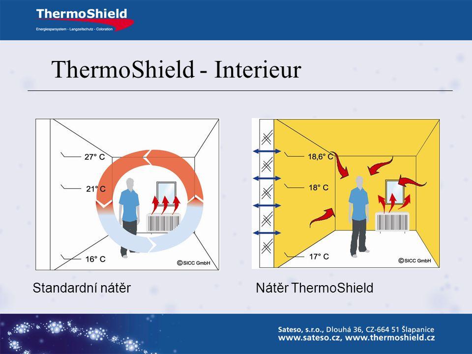ThermoShield - Interieur Snižuje náklady na vytápění či klimatizaci Snižuje nadměrnou vlhkost zdiva Zamezuje vzniku termodynamických trhlin Zamezuje u