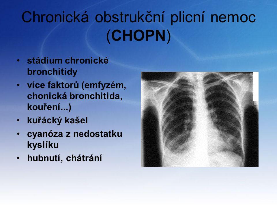 Chronická obstrukční plicní nemoc (CHOPN) stádium chronické bronchitidy více faktorů (emfyzém, chonická bronchitida, kouření...) kuřácký kašel cyanóza