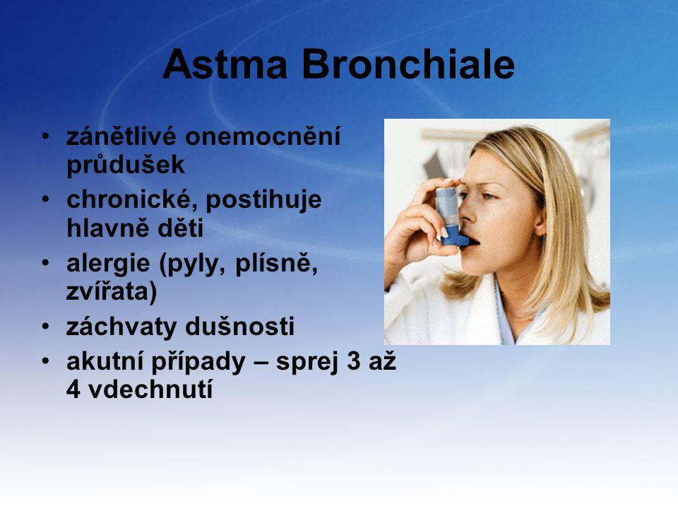 Astma Bronchiale zánětlivé onemocnění průdušek chronické, postihuje hlavně děti alergie (pyly, plísně, zvířata) záchvaty dušnosti akutní případy – spr