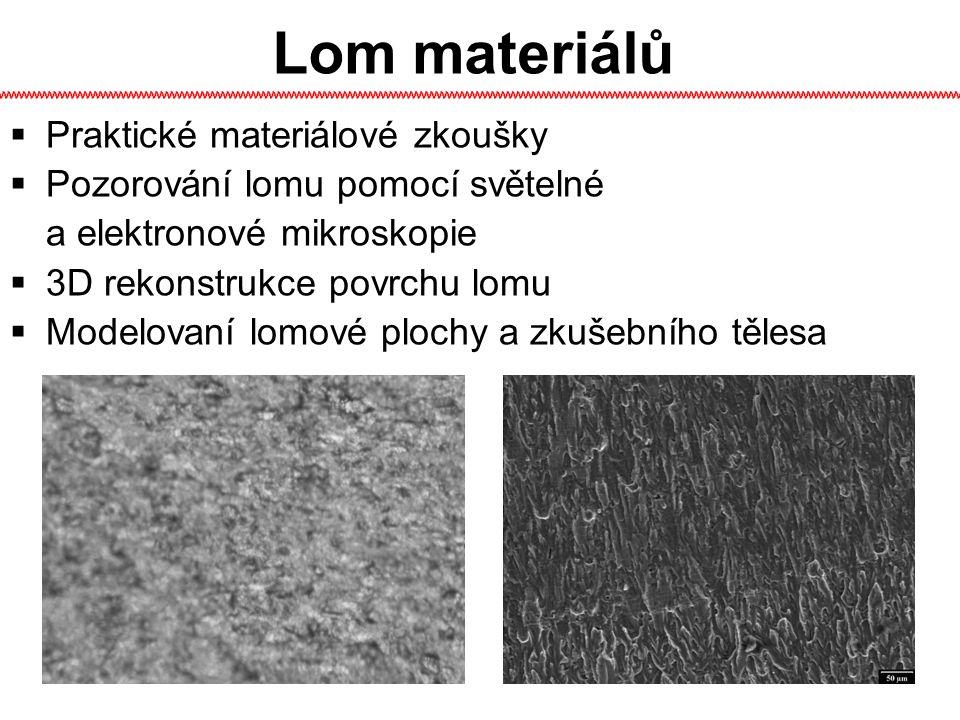 3D rekonstrukce Metalografický mikroskop - přeostřování snímků