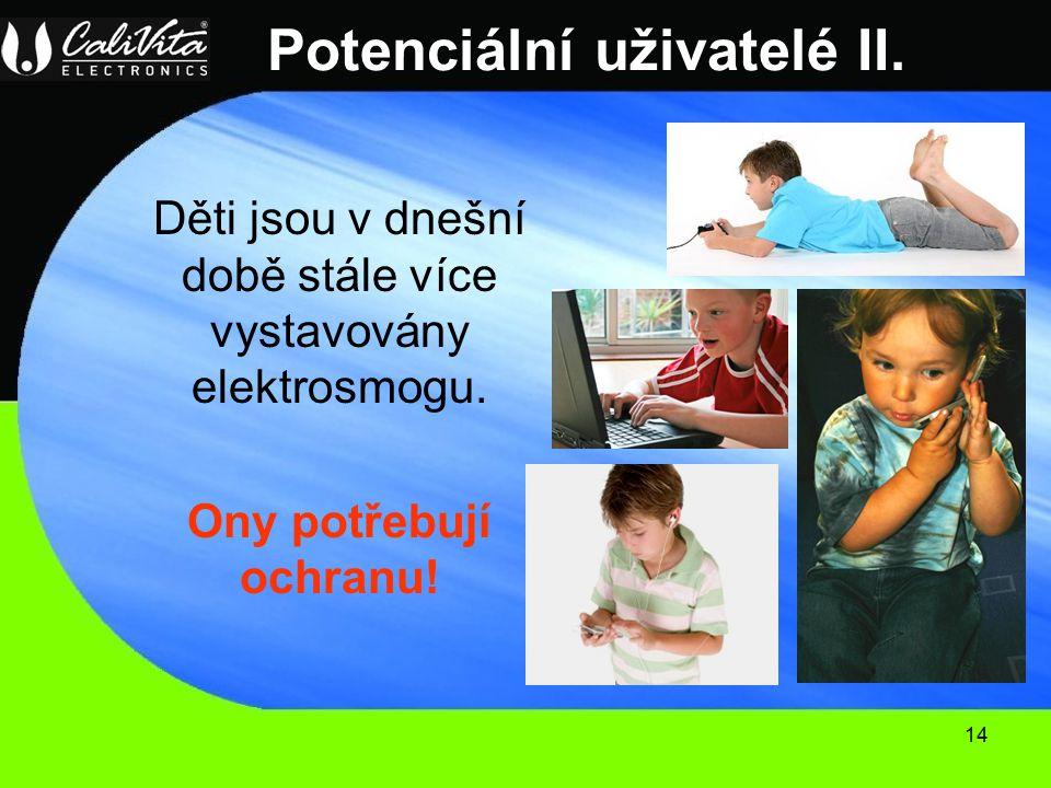 14 Potenciální uživatelé II.Děti jsou v dnešní době stále více vystavovány elektrosmogu.