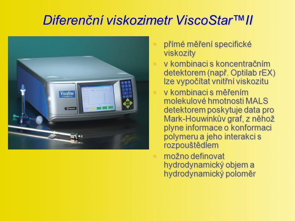 Diferenční viskozimetr ViscoStar™II  přímé měření specifické viskozity  v kombinaci s koncentračním detektorem (např. Optilab rEX) lze vypočítat vni