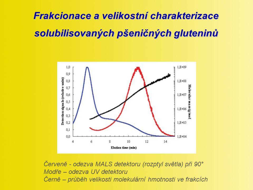Frakcionace a velikostní charakterizace solubilisovaných pšeničných gluteninů Červeně - odezva MALS detektoru (rozptyl světla) při 90° Modře – odezva