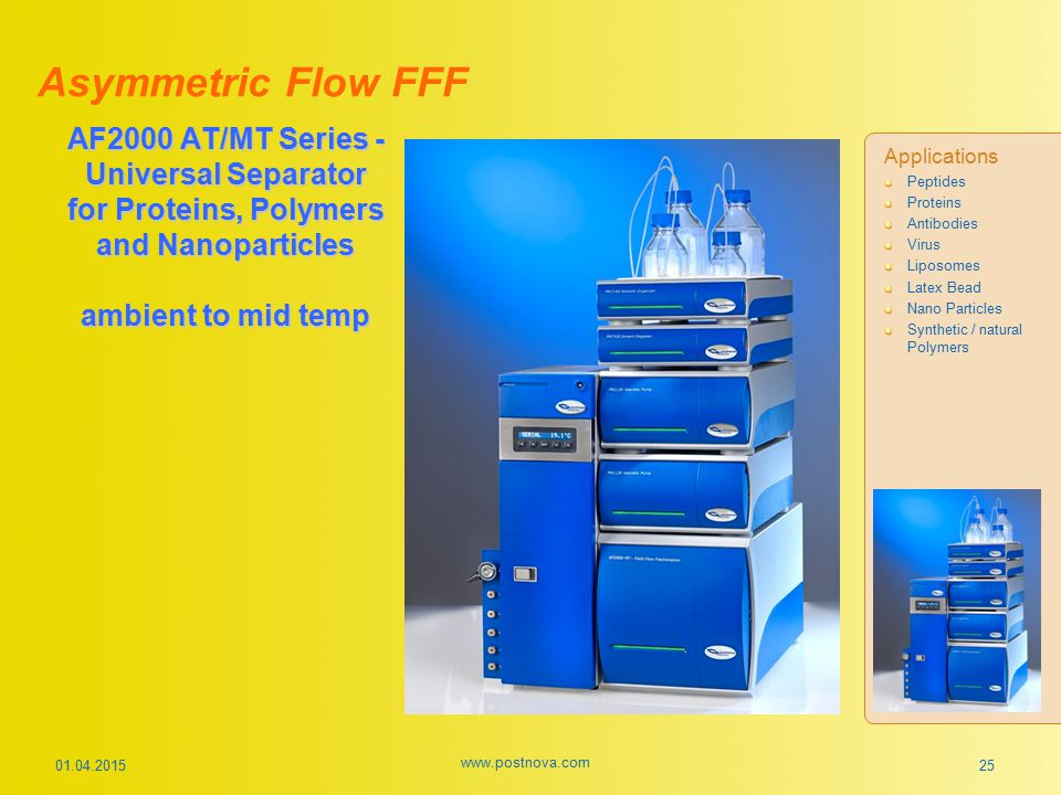 01.04.2015 www.postnova.com 25 AF2000 AT/MT Series - Universal Separator for Proteins, Polymers and Nanoparticles ambient to mid temp Asymmetric Flow
