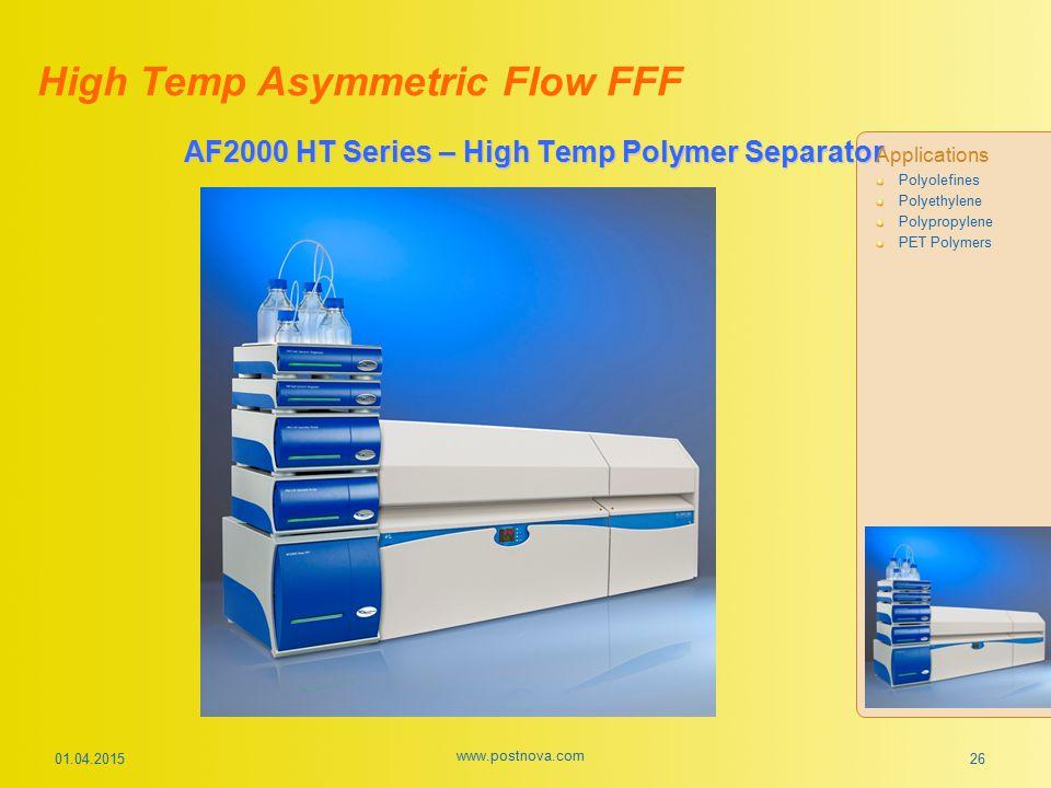01.04.2015 www.postnova.com 26 AF2000 HT Series – High Temp Polymer Separator Applications Polyolefines Polyethylene Polypropylene PET Polymers High T