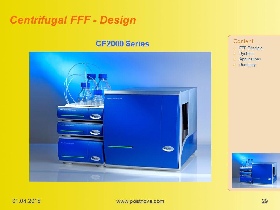 CF2000 Series Centrifugal FFF - Design Content FFF Principle Systems Applications Summary 01.04.2015 29www.postnova.com