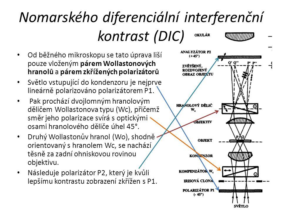 Nomarského diferenciální interferenční kontrast (DIC) Od běžného mikroskopu se tato úprava liší pouze vloženým párem Wollastonových hranolů a párem zk