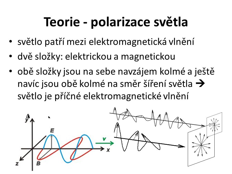 Teorie - polarizace světla světlo patří mezi elektromagnetická vlnění dvě složky: elektrickou a magnetickou obě složky jsou na sebe navzájem kolmé a j