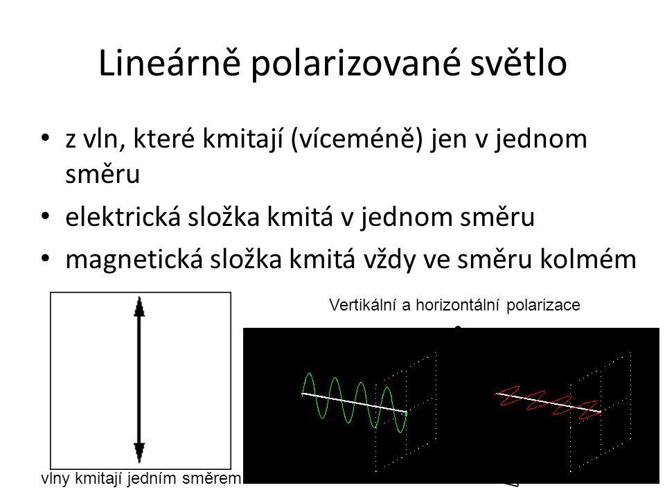 Lineárně polarizované světlo z vln, které kmitají (víceméně) jen v jednom směru elektrická složka kmitá v jednom směru magnetická složka kmitá vždy ve