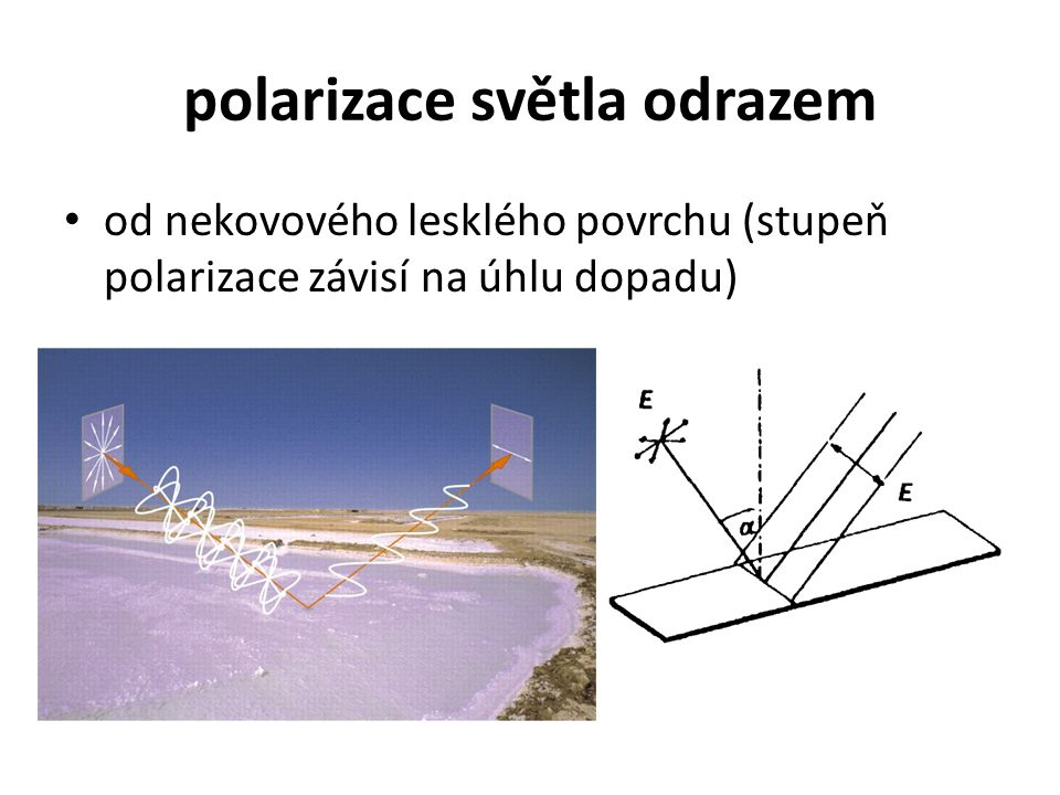 polarizace světla odrazem od nekovového lesklého povrchu (stupeň polarizace závisí na úhlu dopadu)