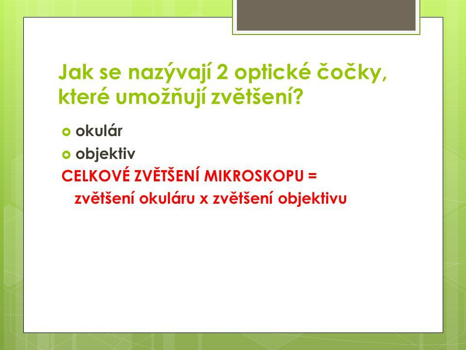  okulár  objektiv CELKOVÉ ZVĚTŠENÍ MIKROSKOPU = zvětšení okuláru x zvětšení objektivu