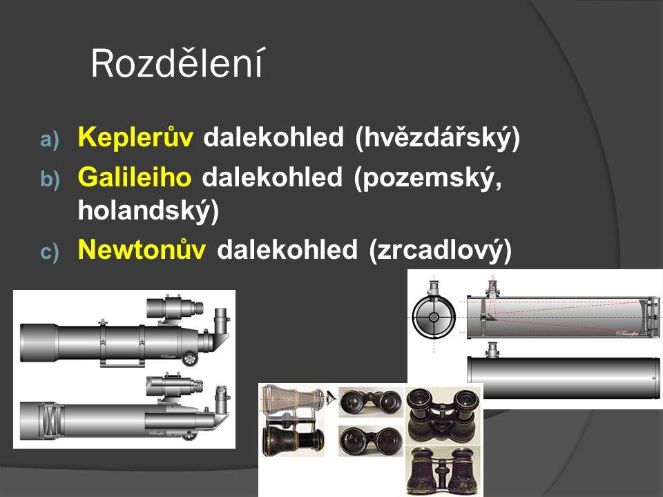 Rozdělení a) Keplerův dalekohled (hvězdářský) b) Galileiho dalekohled (pozemský, holandský) c) Newtonův dalekohled (zrcadlový) http://www.inoptik.cz/r