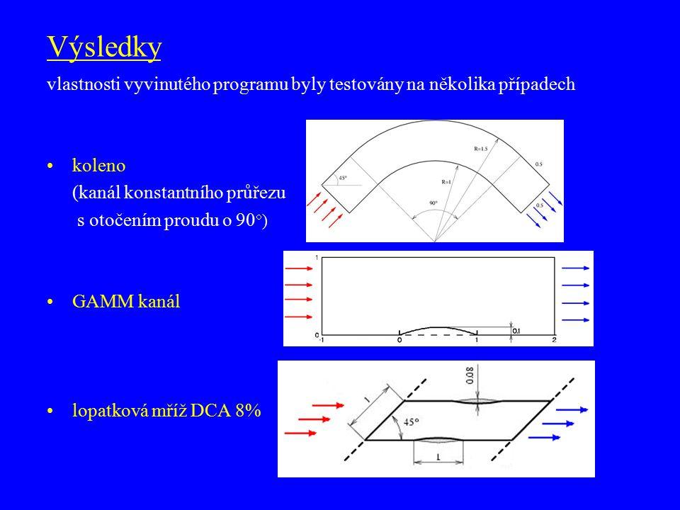 Výsledky vlastnosti vyvinutého programu byly testovány na několika případech koleno (kanál konstantního průřezu s otočením proudu o 90  ) GAMM kanál