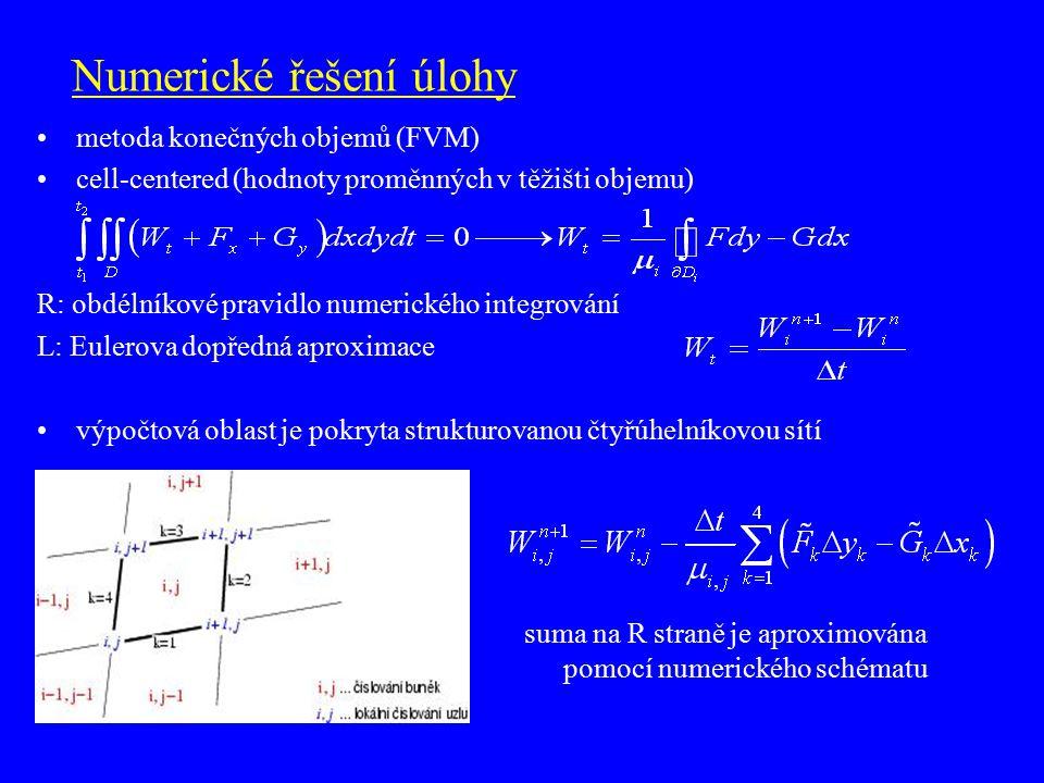 Numerické řešení úlohy metoda konečných objemů (FVM) cell-centered (hodnoty proměnných v těžišti objemu) R: obdélníkové pravidlo numerického integrová