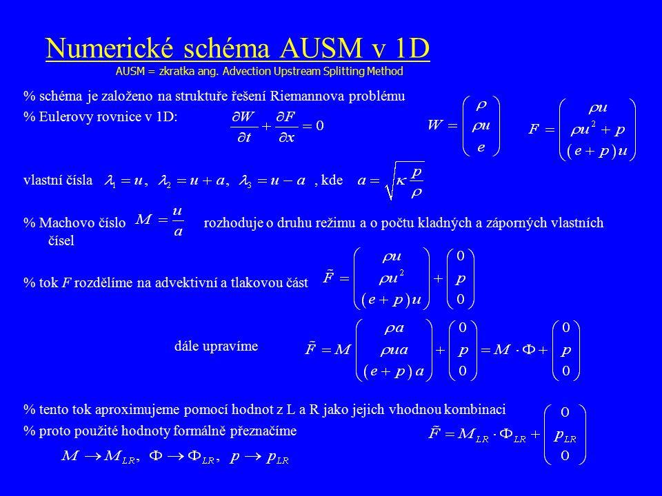 Numerické schéma AUSM v 1D  schéma je založeno na struktuře řešení Riemannova problému  Eulerovy rovnice v 1D: vlastní čísla, kde  Machovo číslo ro