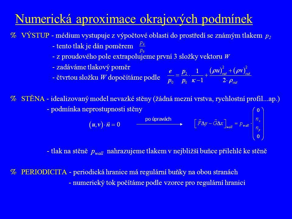 Numerická aproximace okrajových podmínek %VÝSTUP - médium vystupuje z výpočtové oblasti do prostředí se známým tlakem p 2 - tento tlak je dán poměrem