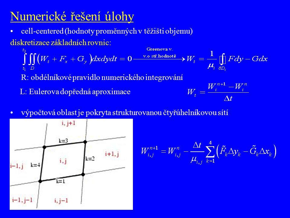 Numerické řešení úlohy metoda konečných objemů (FVM) cell-centered (hodnoty proměnných v těžišti objemu) R: obdélníkové pravidlo numerického integrování L: Eulerova dopředná aproximace výpočtová oblast je pokryta strukturovanou čtyřúhelníkovou sítí suma na R straně je aproximována pomocí numerického schématu
