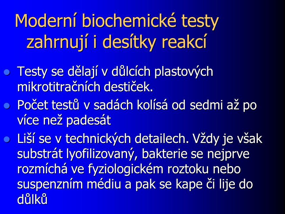 Moderní biochemické testy zahrnují i desítky reakcí Testy se dělají v důlcích plastových mikrotitračních destiček. Testy se dělají v důlcích plastovýc