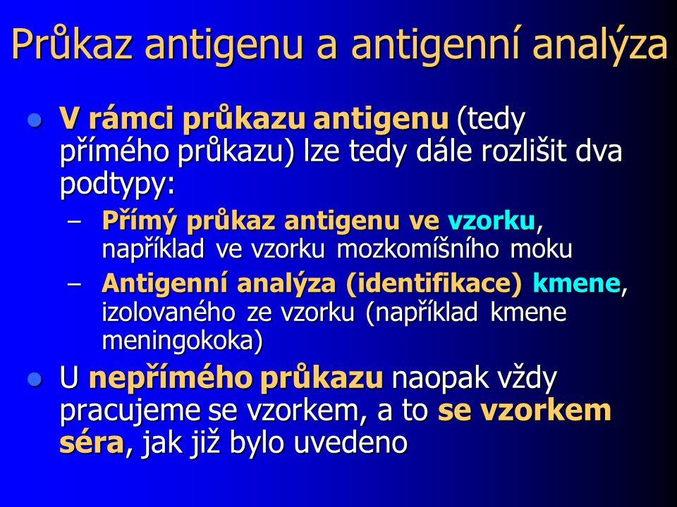 Průkaz antigenu a antigenní analýza V rámci průkazu antigenu (tedy přímého průkazu) lze tedy dále rozlišit dva podtypy: V rámci průkazu antigenu (tedy