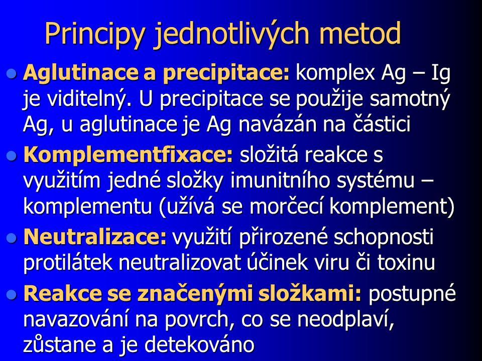 Principy jednotlivých metod Aglutinace a precipitace: komplex Ag – Ig je viditelný. U precipitace se použije samotný Ag, u aglutinace je Ag navázán na