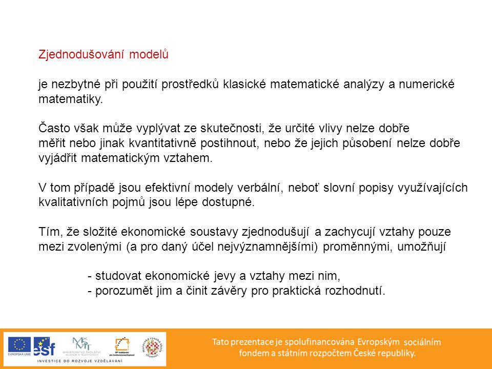 Zjednodušování modelů je nezbytné při použití prostředků klasické matematické analýzy a numerické matematiky.