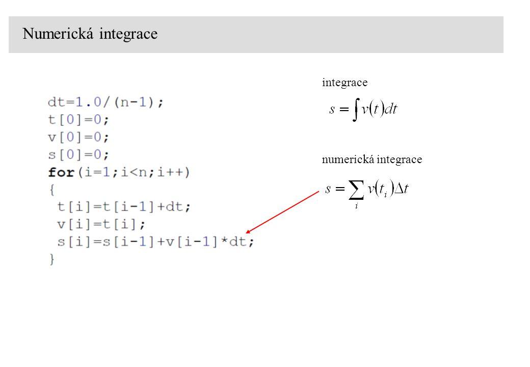 Numerická integrace numerická integrace integrace (přesnější)
