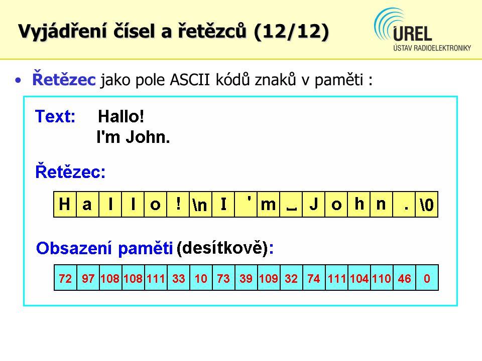 Řetězec jako pole ASCII kódů znaků v paměti : Vyjádření čísel a řetězců (12/12)