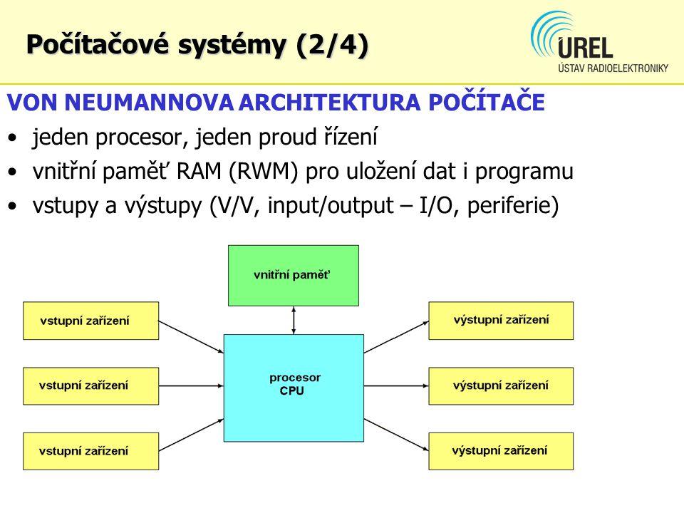 Počítačové systémy (2/4) VON NEUMANNOVA ARCHITEKTURA POČÍTAČE jeden procesor, jeden proud řízení vnitřní paměť RAM (RWM) pro uložení dat i programu vs