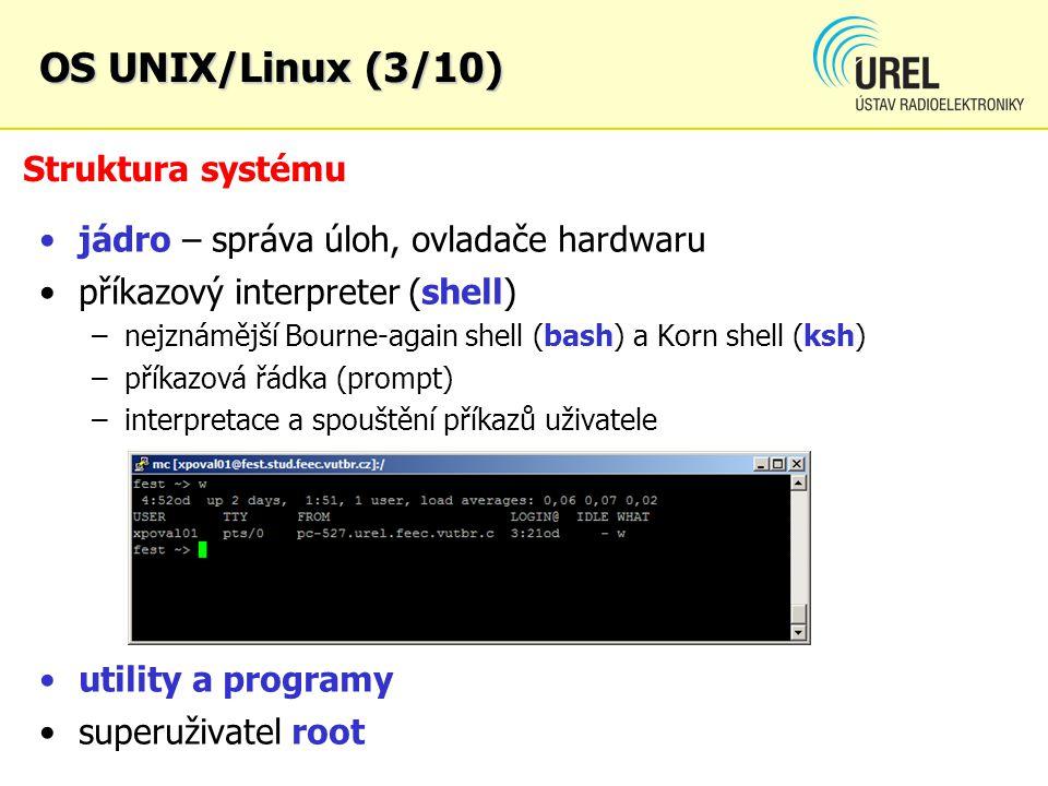 Struktura systému jádro – správa úloh, ovladače hardwaru příkazový interpreter (shell) –nejznámější Bourne-again shell (bash) a Korn shell (ksh) –přík