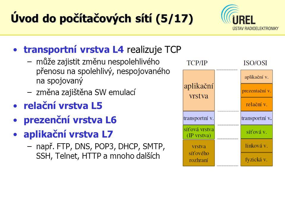 transportní vrstva L4 realizuje TCP –může zajistit změnu nespolehlivého přenosu na spolehlivý, nespojovaného na spojovaný –změna zajištěna SW emulací